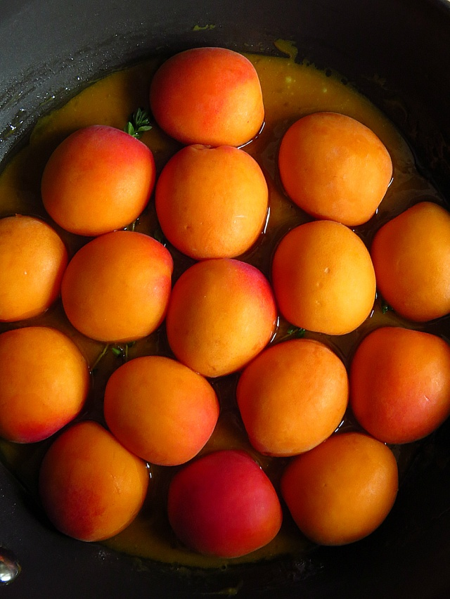 apricots in pan