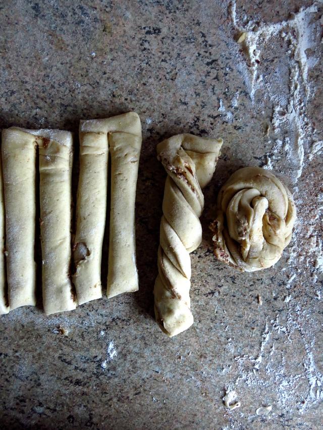 making hazelnut buns