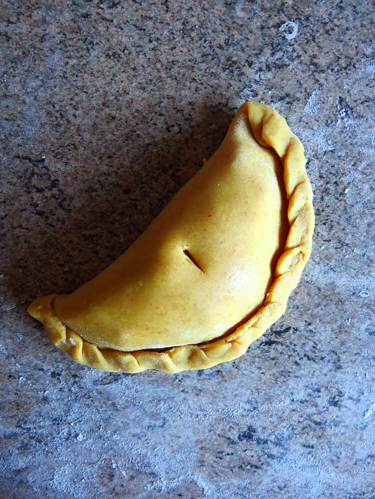Cornish pasty before baking